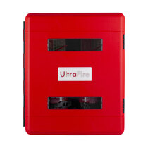 Twin viewing windows and easily identifiable red door to help locate fire fighting equipment
