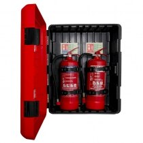 Can store 2 fire extinguishers up to 9kg / 9ltr in capacity side-by-side