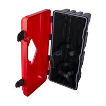 Dual elastic PVC straps to secure fire extinguishers in place